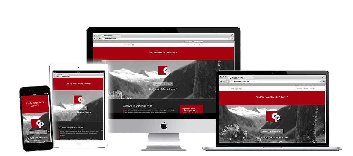 Eine Website auf unterschiedlichen Endgeräten